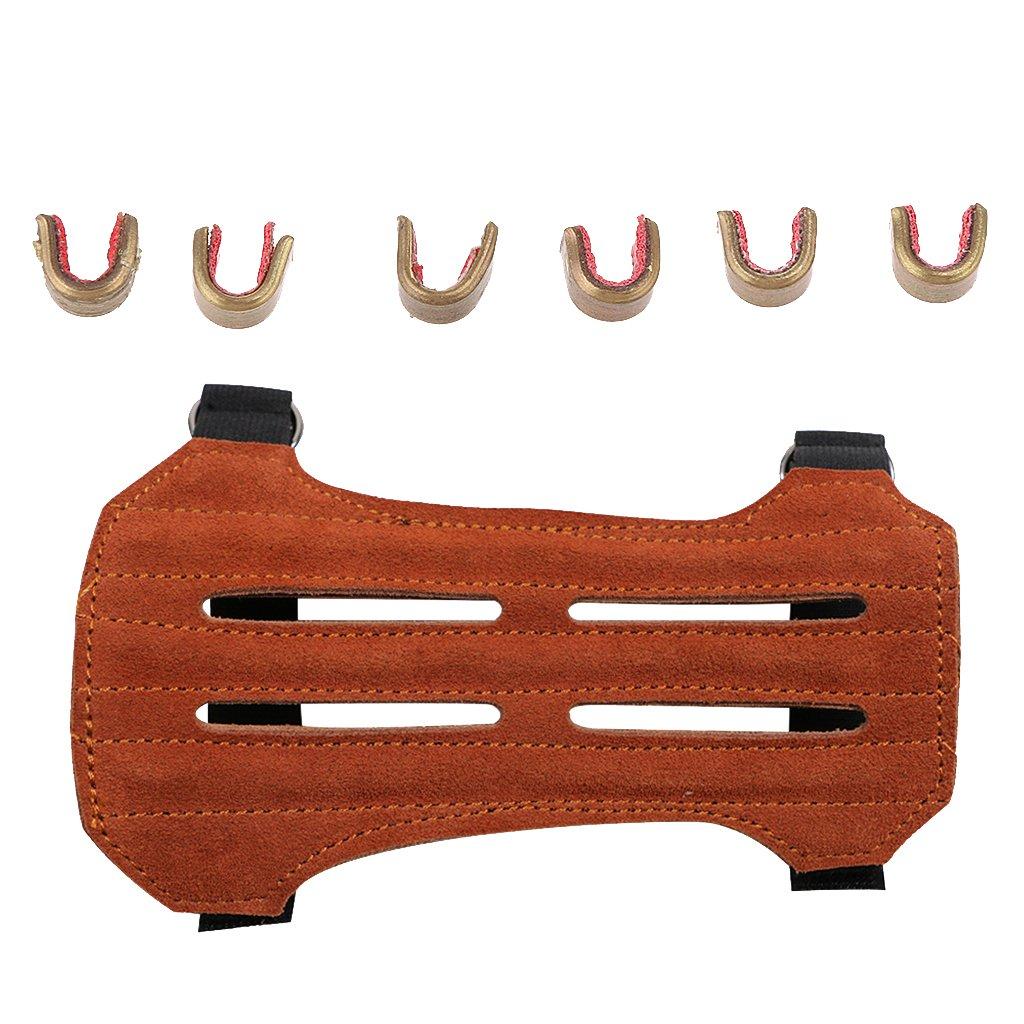 CUTICATE Strapazierf/ähiger Bogenschie/ßen Armschutz Armsch/ützer Mit 6 Teiligem Bogennockensatz