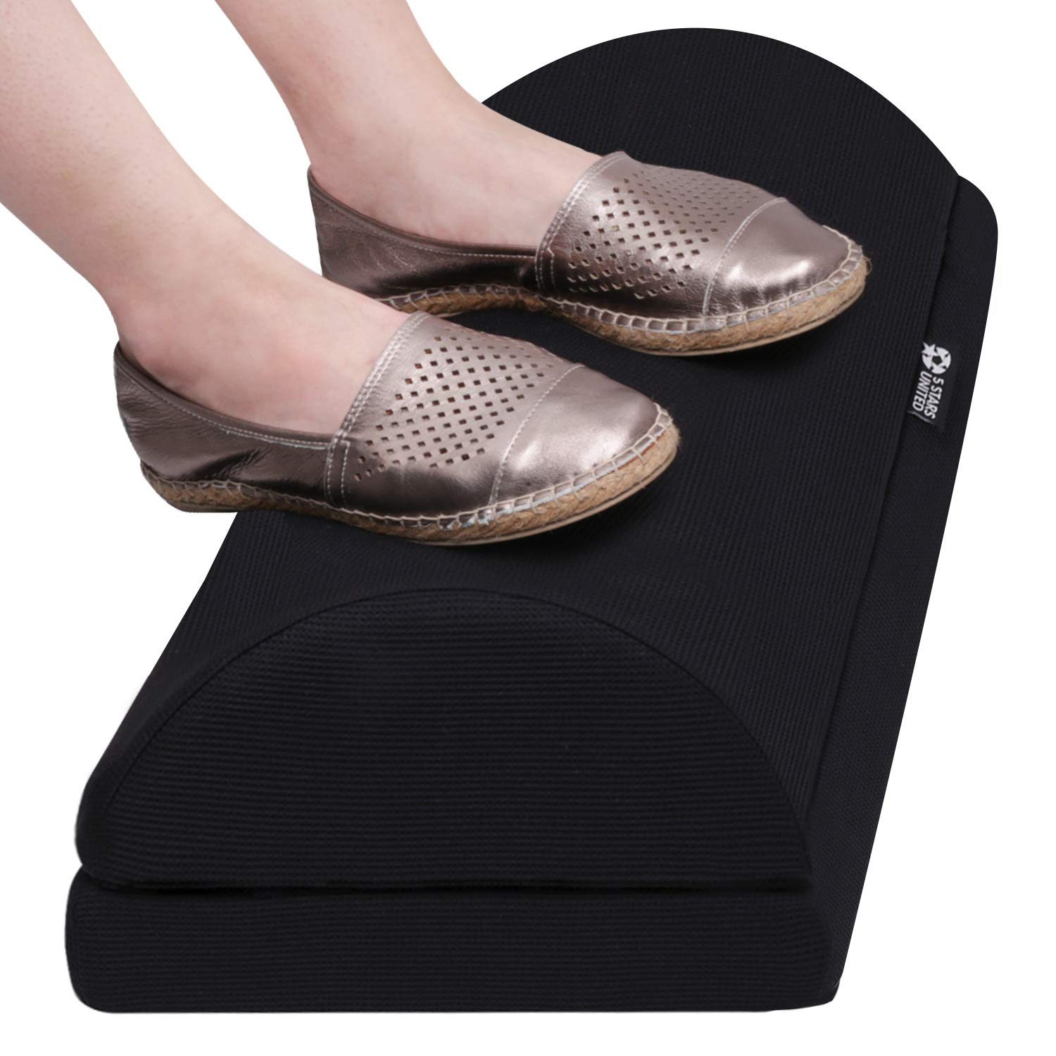Foot Rest Under Desk Cushion - Foot Stool for Home and Office - 100% Memory Foam - Breathable Mesh Cover - Non-Slip Bottom - Adjustable Height - Ergonomic Half-Cylinder Pad for Extra Leg Support by 5 STARS UNITED