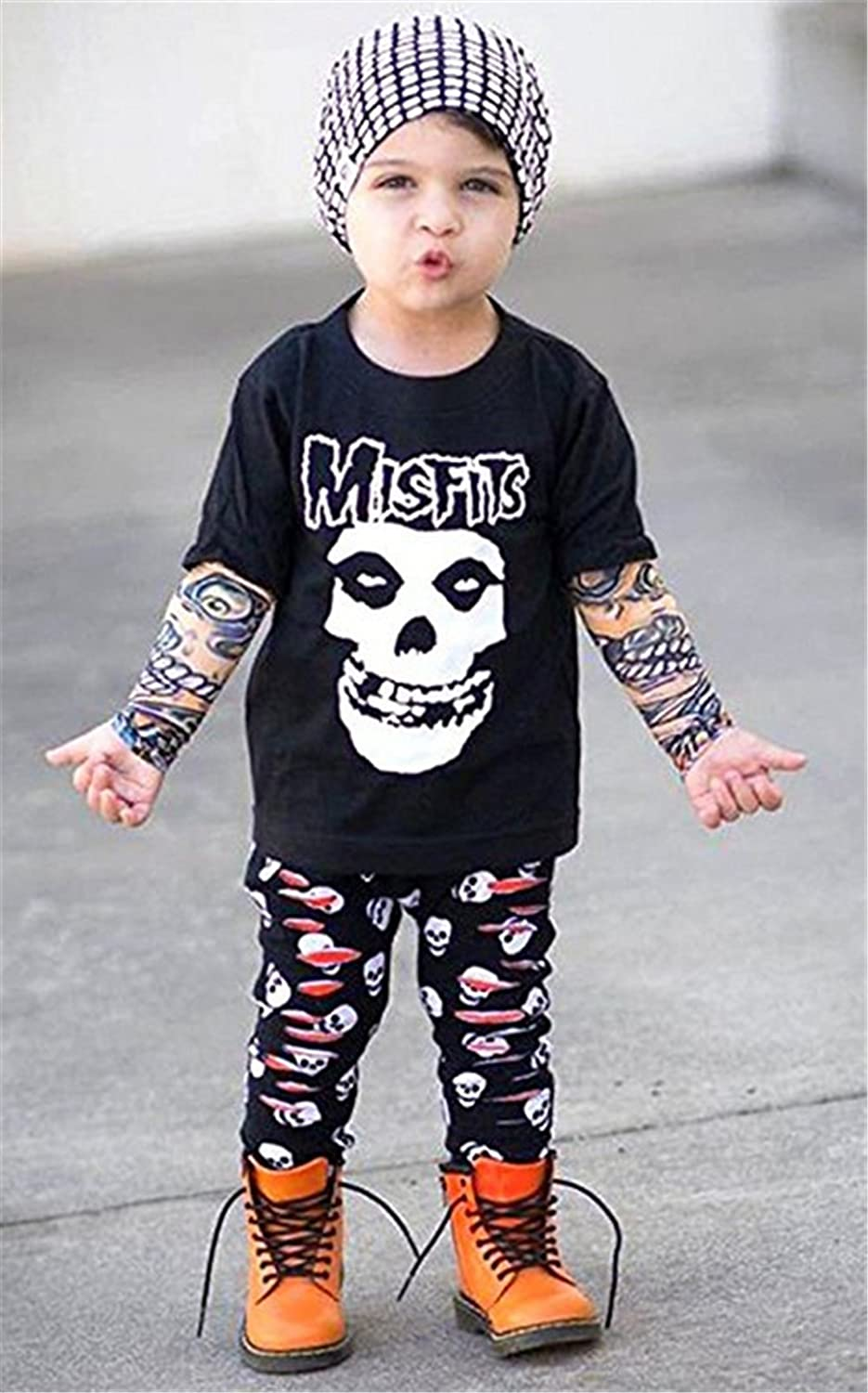 EGELEXY Kids Toddler Baby Boys Misfits Skull Printed T-Shirt Pants Elbow Pad Outfits