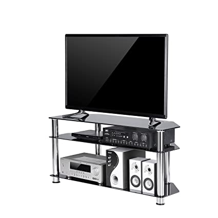 tavr black tempered glass corner tv stand cable management suit for up to 50 inch lcd - Corner Tv Stands 50 Inch