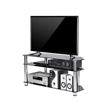 Amazon Com Tavr Black Tempered Glass Corner Tv Stand Cable
