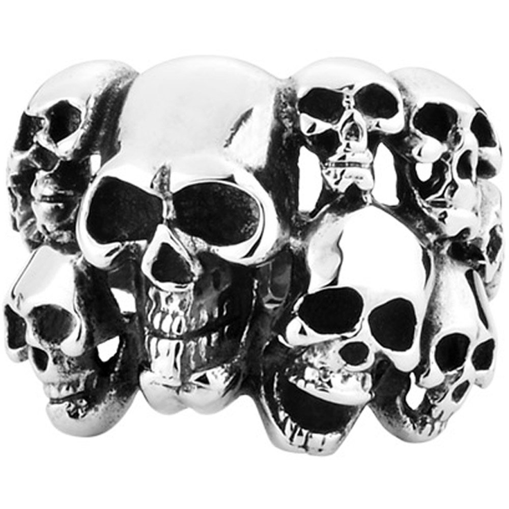 Men's Vintage Classic Gothic Embossed Skull Biker Stainless Steel Ring Band Silver Black Size 10 by MENSO (Image #1)