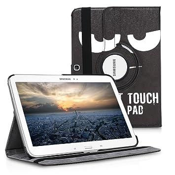 kwmobile Funda compatible con Samsung Galaxy Tab 3 10.1 P5200/P5210 - Carcasa de [cuero sintético] para tablet en [blanco / negro]