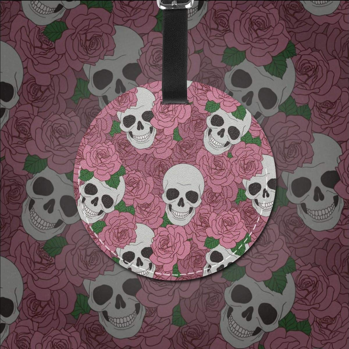 Round Luggage Tags Skull Pineapple PU Leather Suitcase Labels Bag