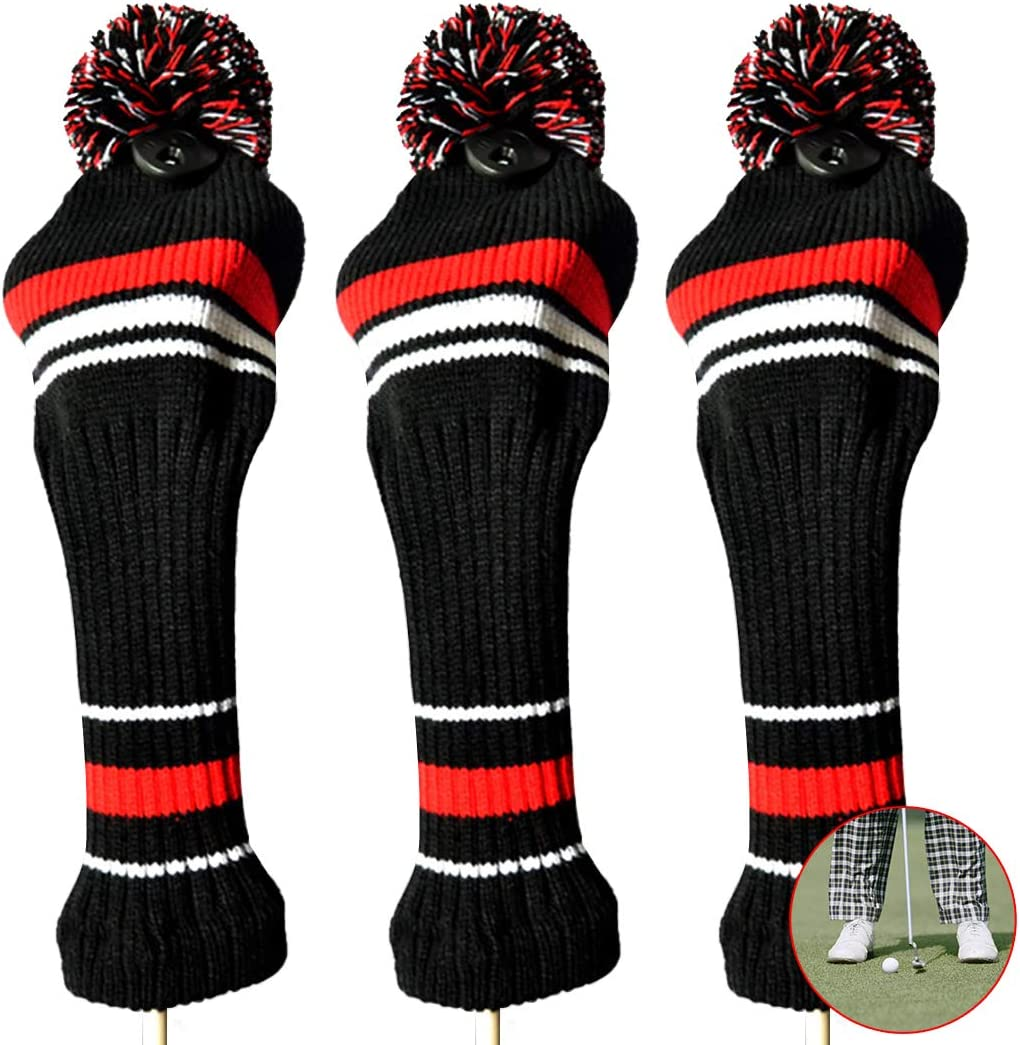 Amazon Com Fansport 3pcs Golf Club Cover Knitted Golf Iron Cover Protective Head Cover Sports Outdoors
