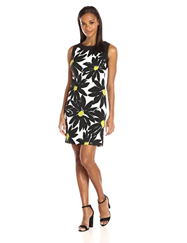 Ronni Nicole Women's Sleevless Large Floral Sheath with Contrast Banding