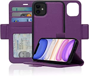 Navor Detachable Magnetic Wallet Case with RFID Protection Compatible for iPhone 11 [6.1 inch] [Vajio Series] - Purple [IP11VJPP]