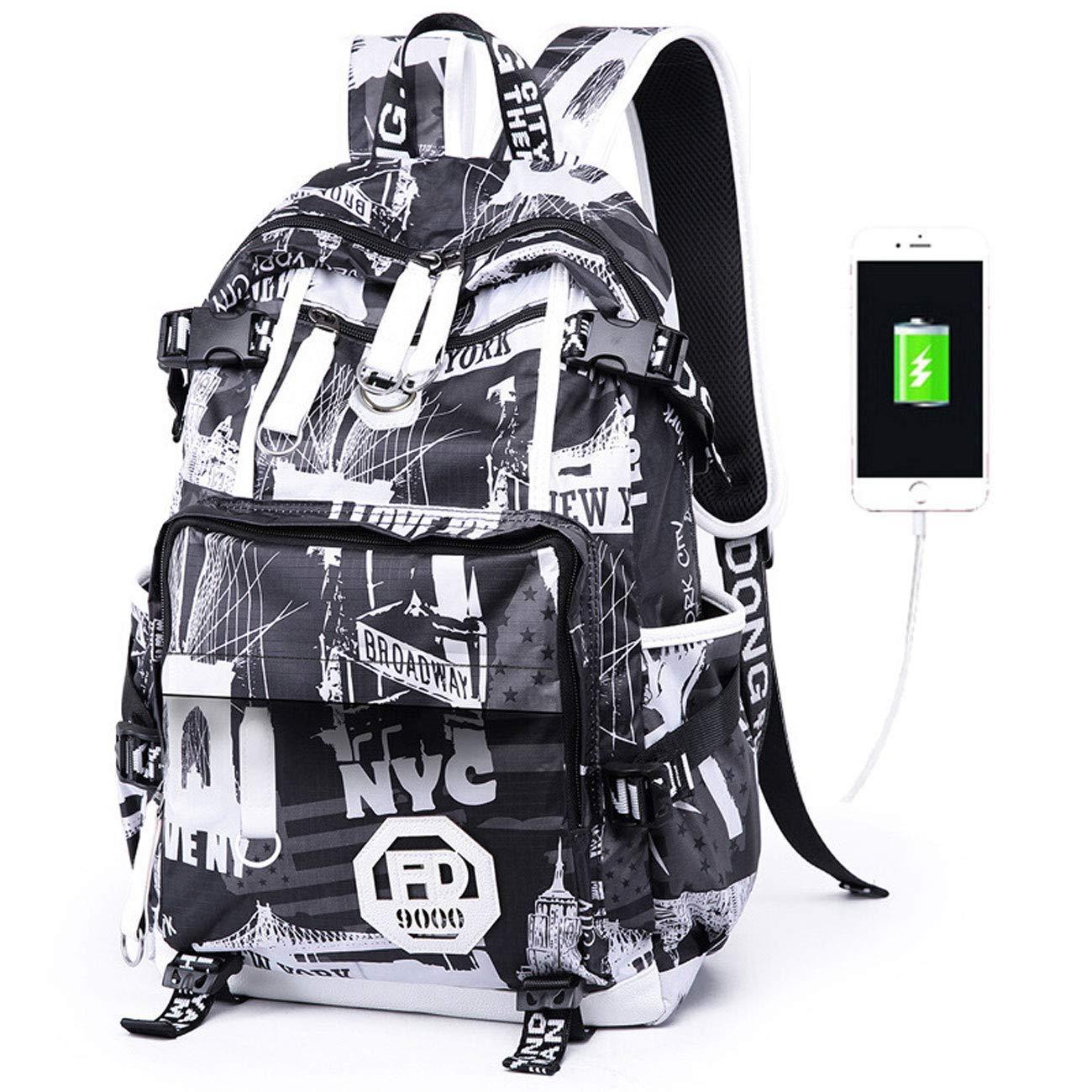 JYKJ Zaino per Bambini con interfaccia di Ricarica USB Zaino Impermeabile Resistente all'Usura Zaino da Viaggio per Sport all'Aria Aperta di Grande capacità ( Colore   D )