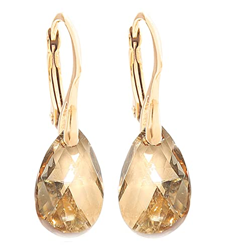 Women's 16mm Golden Shadow Crystals From Swarovski® Pear Earrings. Genuine Vermeil: 24K Gold Over Sterling Silver. Stamped 925. 3gr Total Weight.