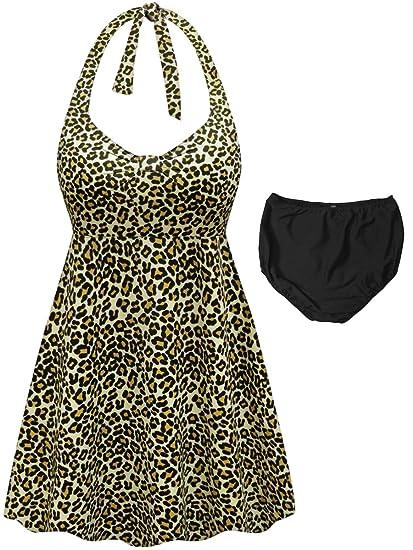 93d27bf16fd53 Sanctuarie Designs Leopard Print 2-PC Halter Style Plus Size Swimdress at  Amazon Women s Clothing store