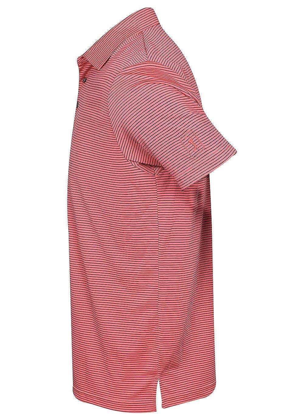 PGA TOUR Mens Short Sleeve Feeder Striped Polo