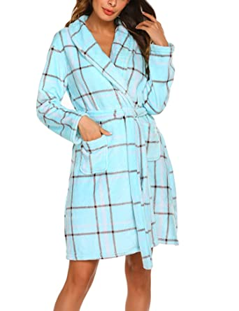 Ekouaer Ladies Bathrobe Microfiber Fleece Flannel Adult Bathrobes 5e7b7f9f7