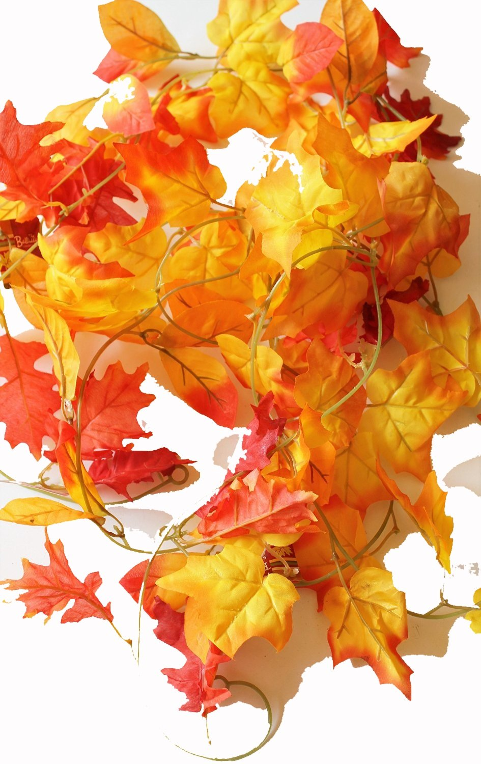 silk flower arrangements set of 3 autumn garlands with artificial mixed fall color leaves - 5 foot x 3, 15 total!!