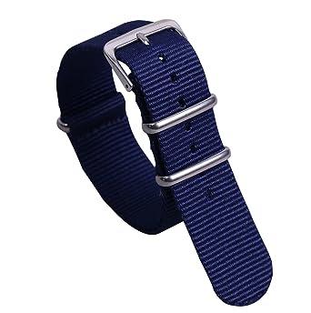 beste Qualität für verfügbar Stufen von Autulet 16mm Nylon Uhrenarmband Männer Dunkel Blau: Amazon ...