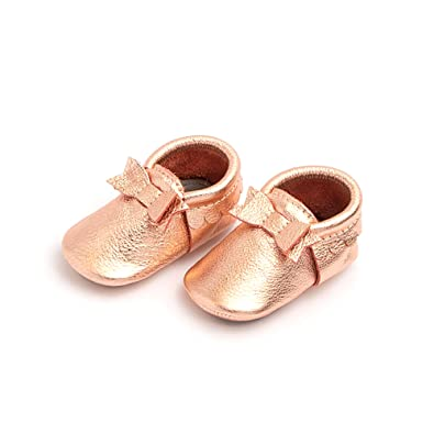 5dc57a9f6fa8 Freshly Picked Rose Gold Bow Mocc Mini Sole Size 3 US