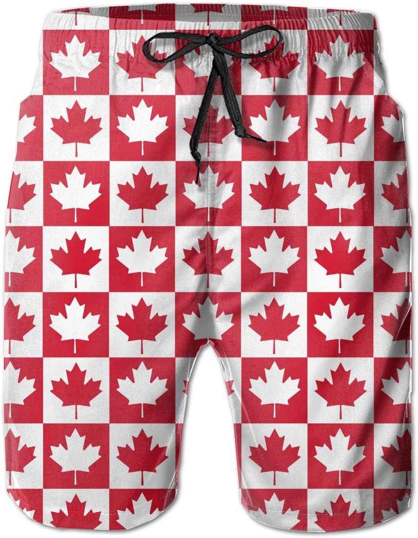 HZamora/_H Mens Canadian Canada CA Flag Maple Leaf Summer Breathable Quick-Drying Swim Trunks Beach Shorts Cargo Shorts L