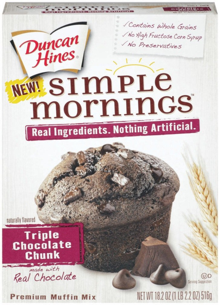 Duncan Hines Simple Mornings Muffin Mix, Triple Chocolate Chunk, 18.2 Ounce (Pack of 12)