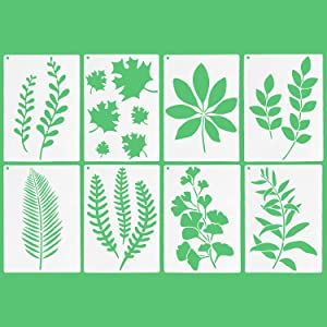 8 PCS Reusable Leaf Painting Stencil Set with Metal Open Ring Plastic Paint Stencils Botanical Leaves Pattern Drawing Template for Painting on Wood Scrapbook Paper Wall Home Decor - 12 x 8 inch Size