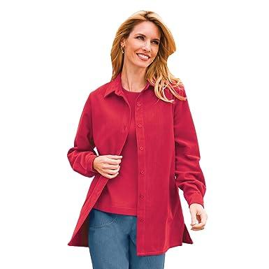 9b61686c5cd Blair Women s Plus Size Corduroy Big Shirt - 2XL Red Rosette at ...