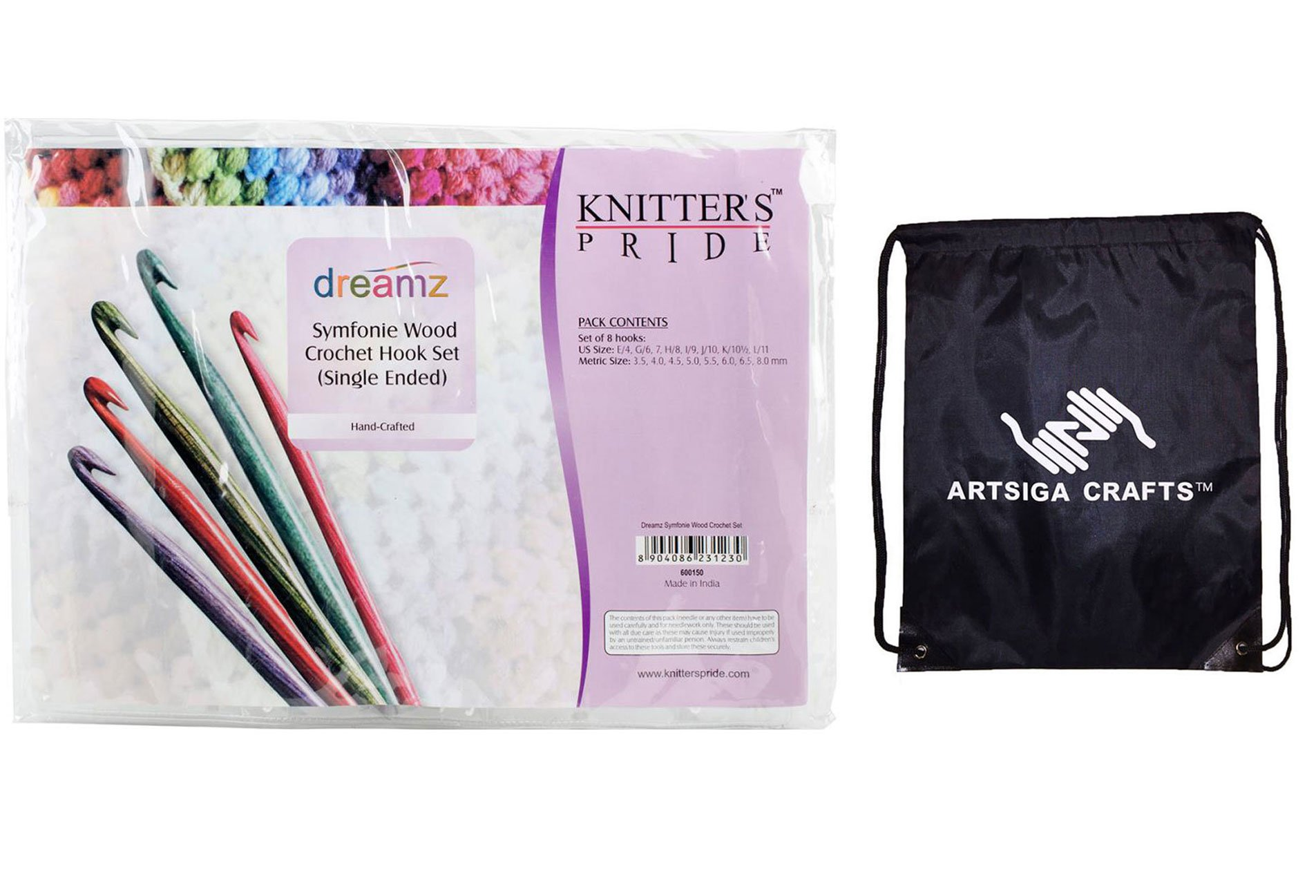 Knitter's Pride Knitting Needles Dreamz 6 inch (15cm) Single Ended Crochet Hook Set Bundle with 1 Artsiga Crafts Project Bag 600150