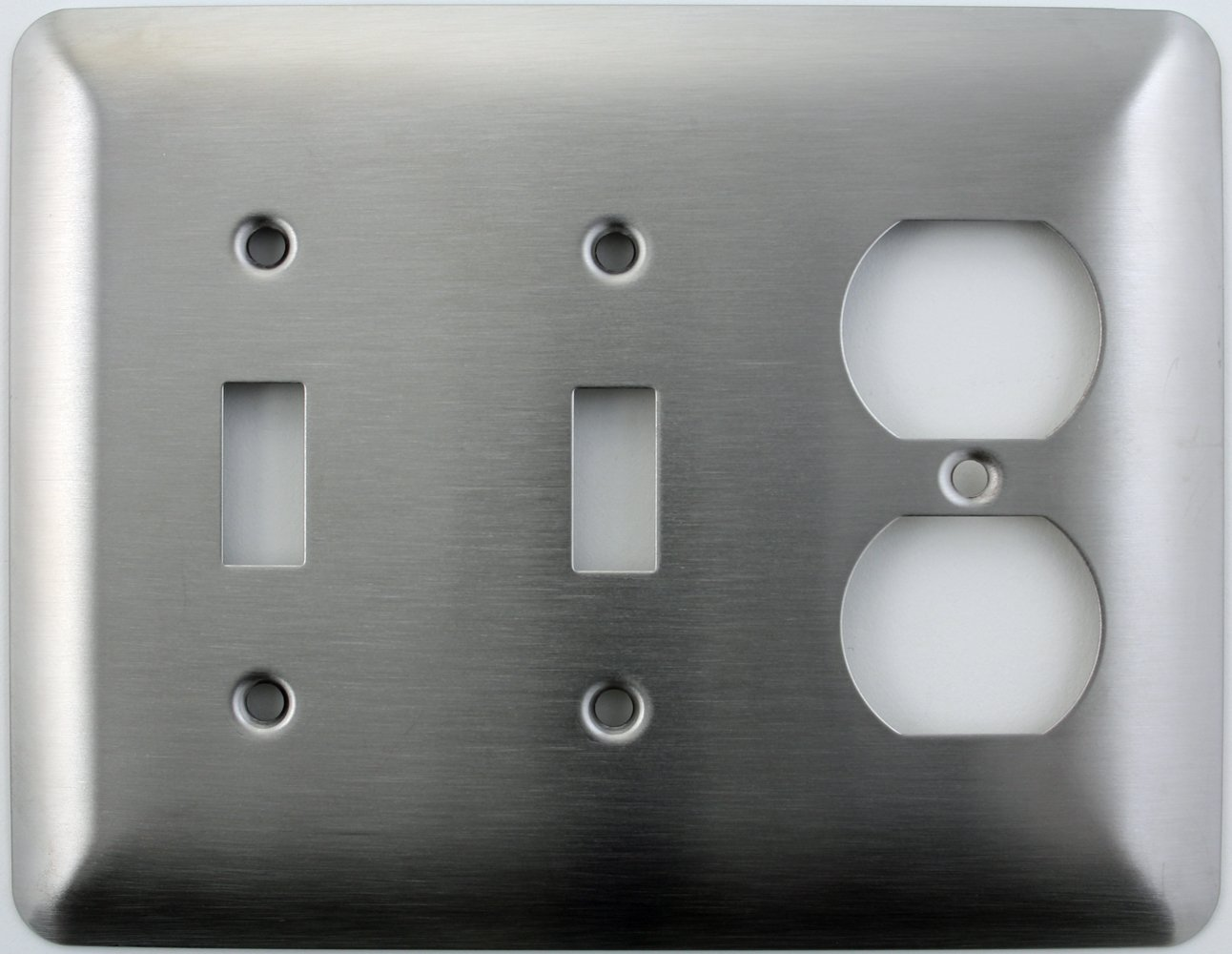 Mulberry Princess Style Satin Stainless Steel Two Gang Switch Plate - Two Toggle Light Switch Opening One Duplex Outlet Opening