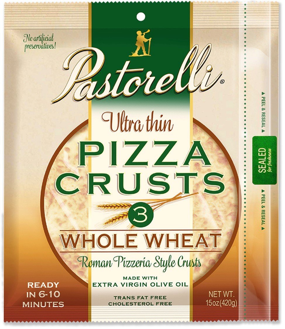 Pastorelli Ultra Thin & Crispy Pizza Crust, Whole Wheat, 12-inch, 3-ct (Pack of 5)