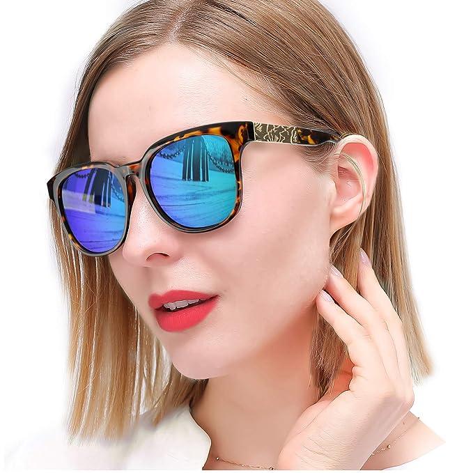 SIPHEW Gafas de Sol para Mujer con Protección UV Polarizada, Gafas de Moda con Espejo para Conducir y Comprar: Amazon.es: Ropa y accesorios