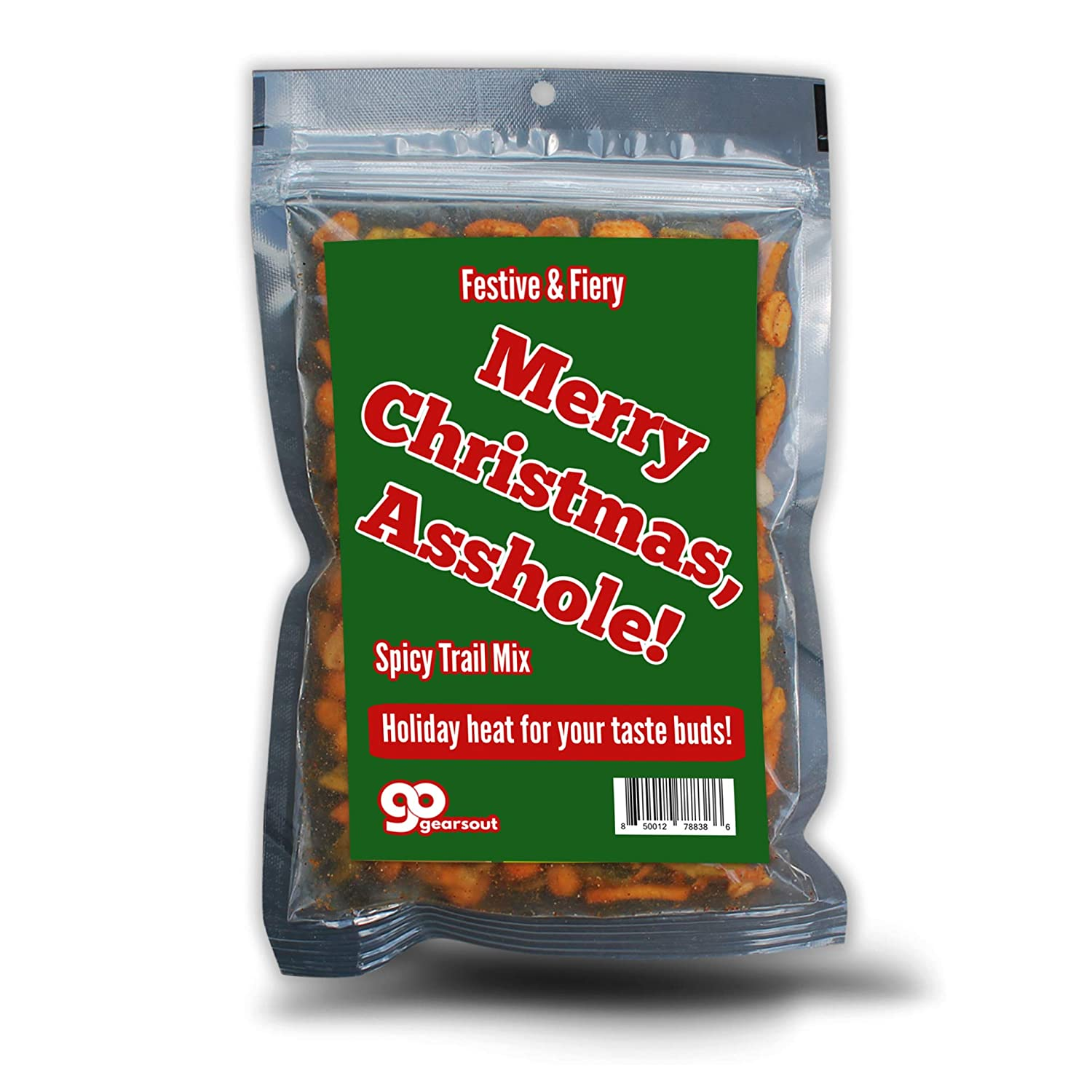 Merry Christmas Asshole Spicy Trail Mix - Holiday Food Gifts for Adults - Premium Trail Mix, Funny Stocking Stuffer, Made in the USA