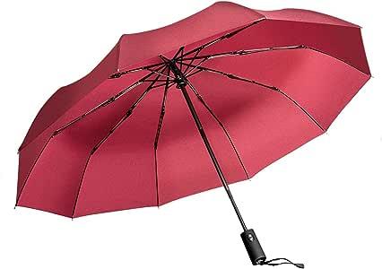 Windproof Umbrella, Vanwalk Black Portable Compact Travel Folding Strong Umbrella 10-Rib Sturdy with 210t Fabric Teflon, Auto Open and Close