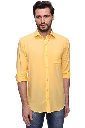 7ad8810dd2 Rootz Citrus Cotton Fabric Yellow Color Men s Shirt  Amazon.in ...