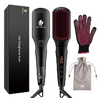 2-in-1 Ionischer Haarglätter Bürste MCH Glätteisen Elektrische Glättungbürste Glättbürste Haarpflege mit kostenlosem hitzebeständigem Handschuh und Temperatursperrfunktion Haarbürste Kamm