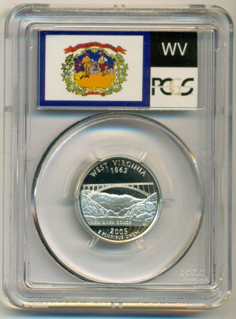 2005 S Proof West Virginia State Quarter PCGS Finest Grade Silver PR70DCAM