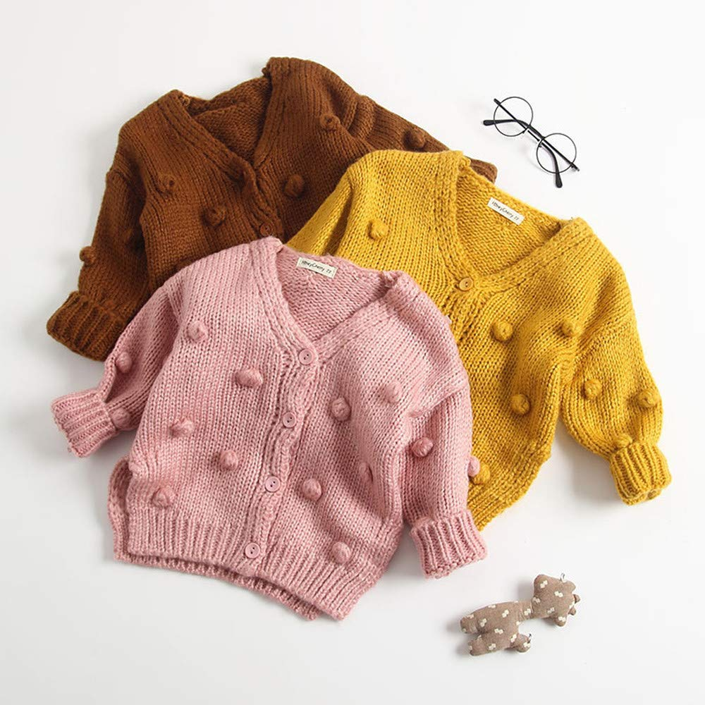 Fashion Baby Sweater,SIN vimklo Kids Girl Knit Ball in Hand Down Cardigan Jacket Tops Coat 3-24Months