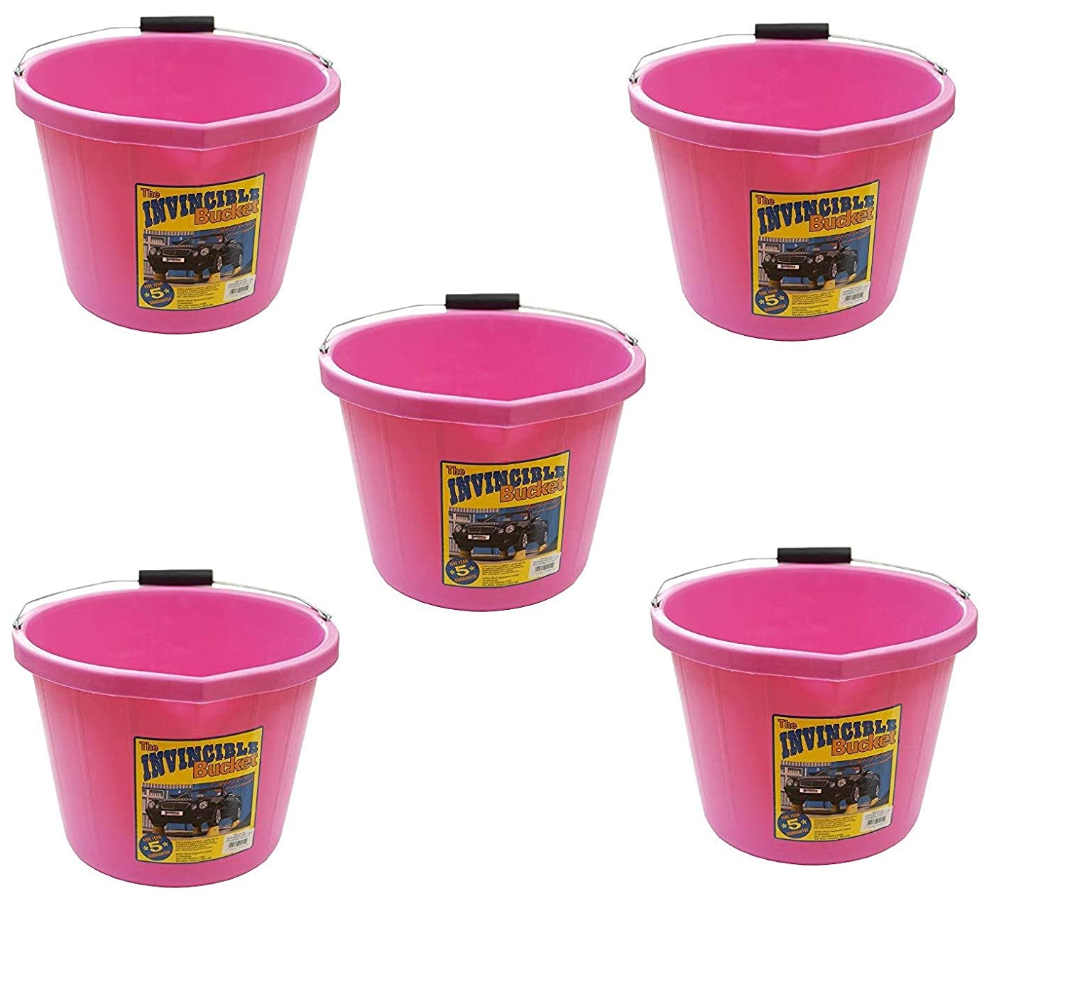 5 X Airflow Heavy Duty Invincible Builders Bucket Pink 3 Gallon 15 Litre