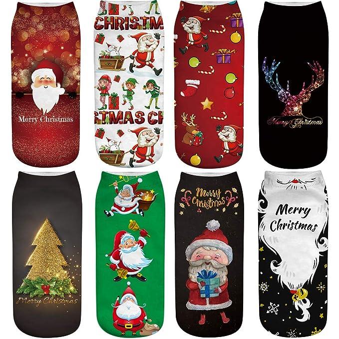 FLYCHEN Mujer 8 pares de Calcetines Navideños Festivos de Santa Claus Cálido Invierno Paquete Christmas Gift Muñeco de nieve Reno Elf EU 37-45 color 1: ...