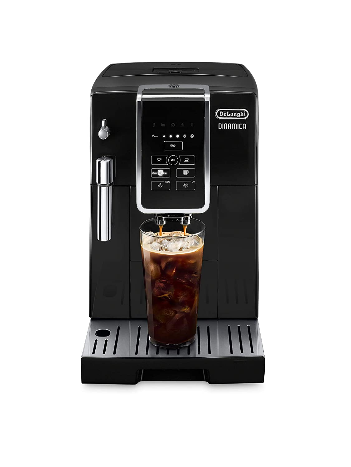 De'Longhi Dinamica Automatic Coffee & Espresso Machine Coffee Burr Grinder + Descaling Solution, Cleaning Brush & Bean Ice Tray, Black, ECAM35020B
