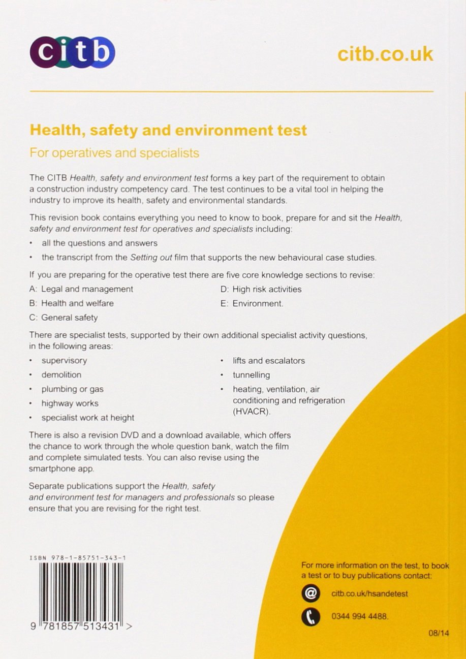 Health safety environment test for operatives specialists health safety environment test for operatives specialists gt10014 for operatives specialists amazon citb 8601404195174 books fandeluxe Choice Image