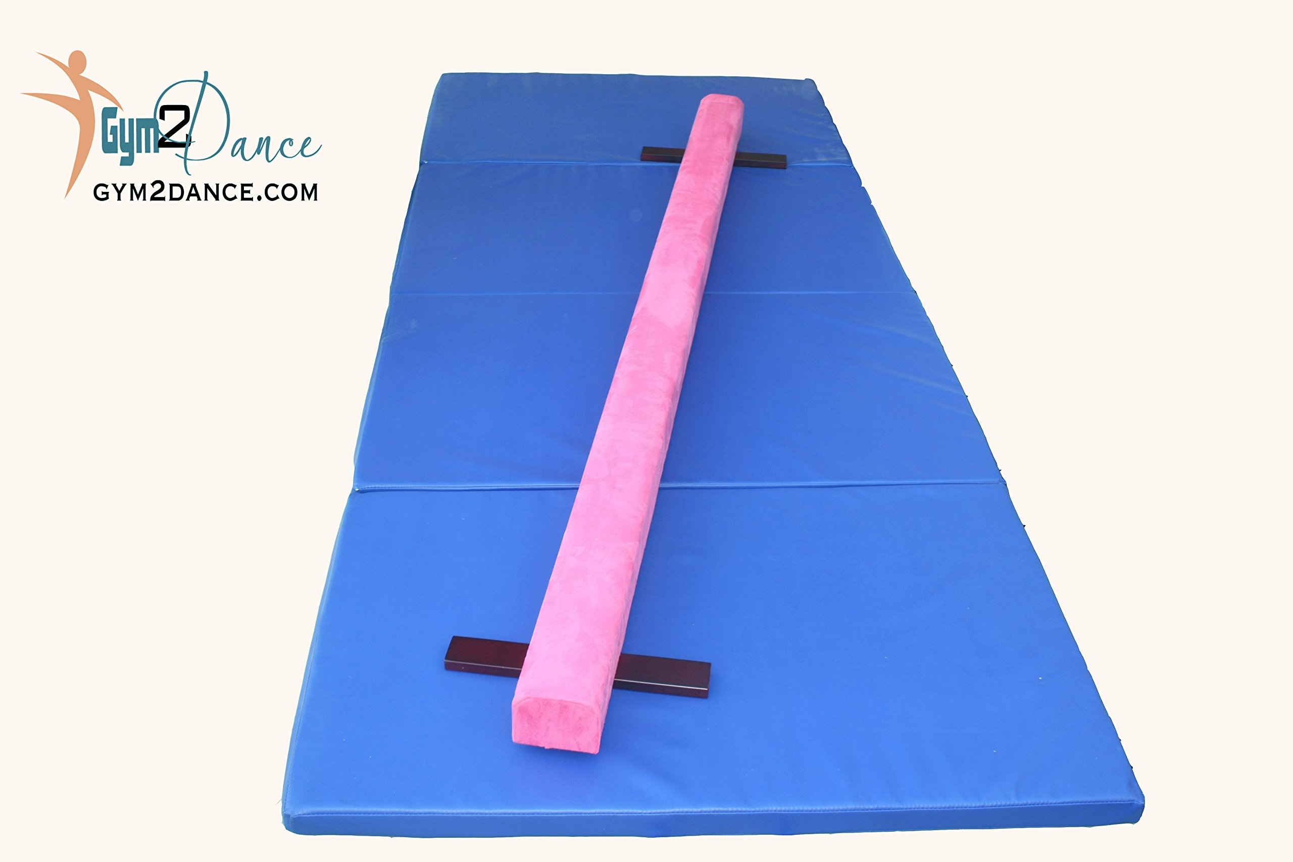 Gymnastics Beam and Mat Combo. 8' Long Beam Suede Surface with Padding, Sturdy Wood Structure and 10' x 4' Blue Mat by Gym2Dance