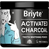 Briyte ® BLACK Charcoal TEETH WHITENING Powder ACTIVATED CHARCOAL Coconut Powder with IRON Large 60g tub - Guaranteed CLEANS TONGUE