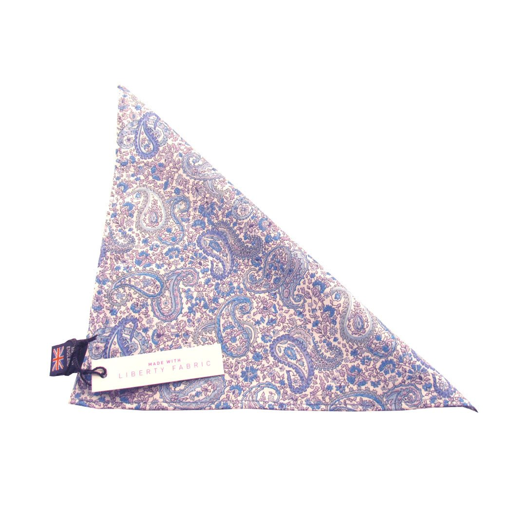 Charles Blue and White Paisley Liberty Print Cotton Pocket Square by Van Buck