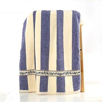 Wddwarmhome Azul Toalla De Baño De Rayas De Algodón De Moda Simple De Absorción De Agua