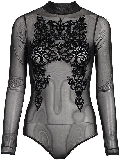 New Womens Mesh Insert Floral Flock Halter Neck Bodysuit Long Sleeve Body Suit