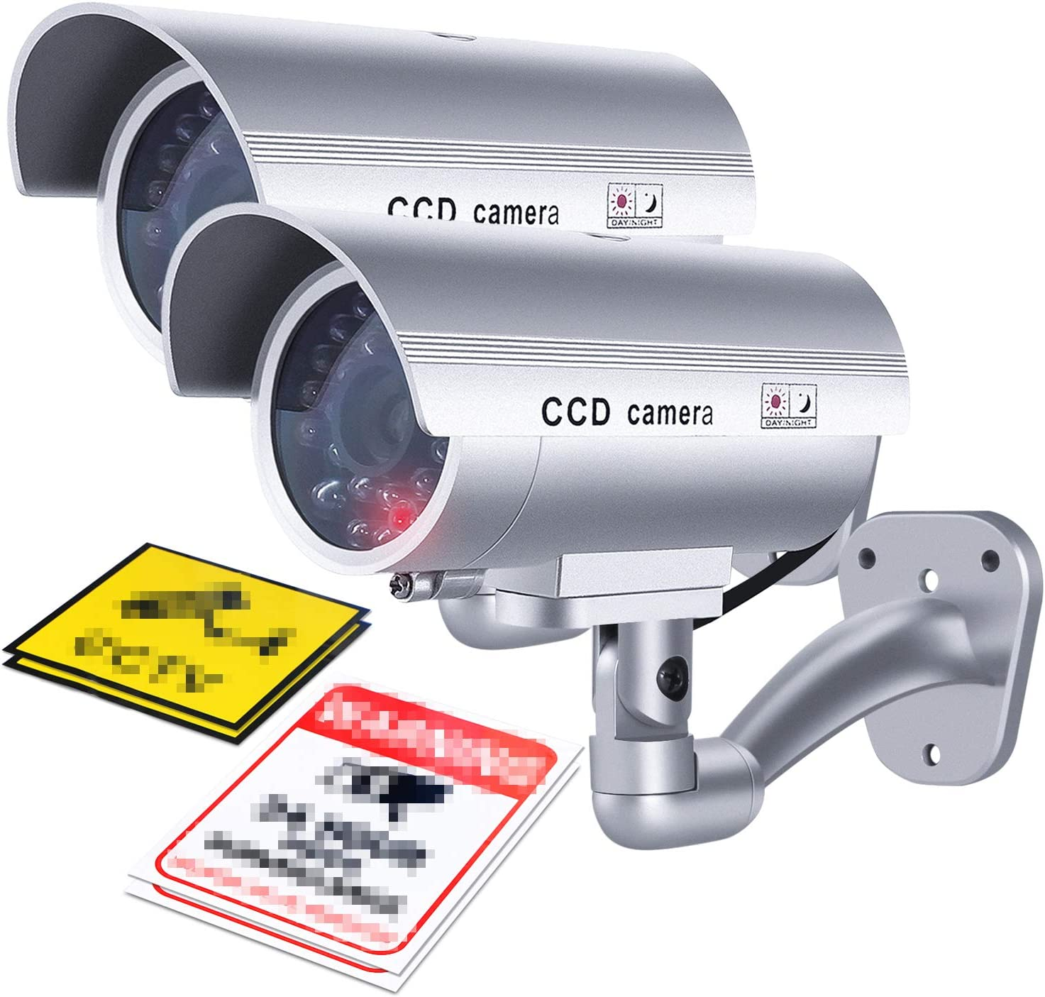 Flexzion Dummy Security Camera (2 Pack) Outdoor Fake CCTV Surveillance Bullet Camera System with Stickers, LED, Simulated IR, Wall Mounted for Property Business Home Security Outdoor/Indoor