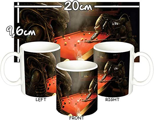 Alien Vs Predator Jugando Al Billar Playing Pool AVP Taza Mug ...