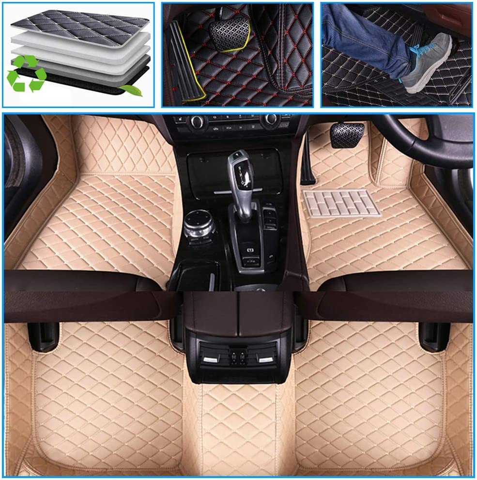 Muchkey car Floor Mats fit for Cadillac SRX 2004-2009 7-Seats Full Coverage All Weather Protection Non-Slip Leather Floor Liners Beige