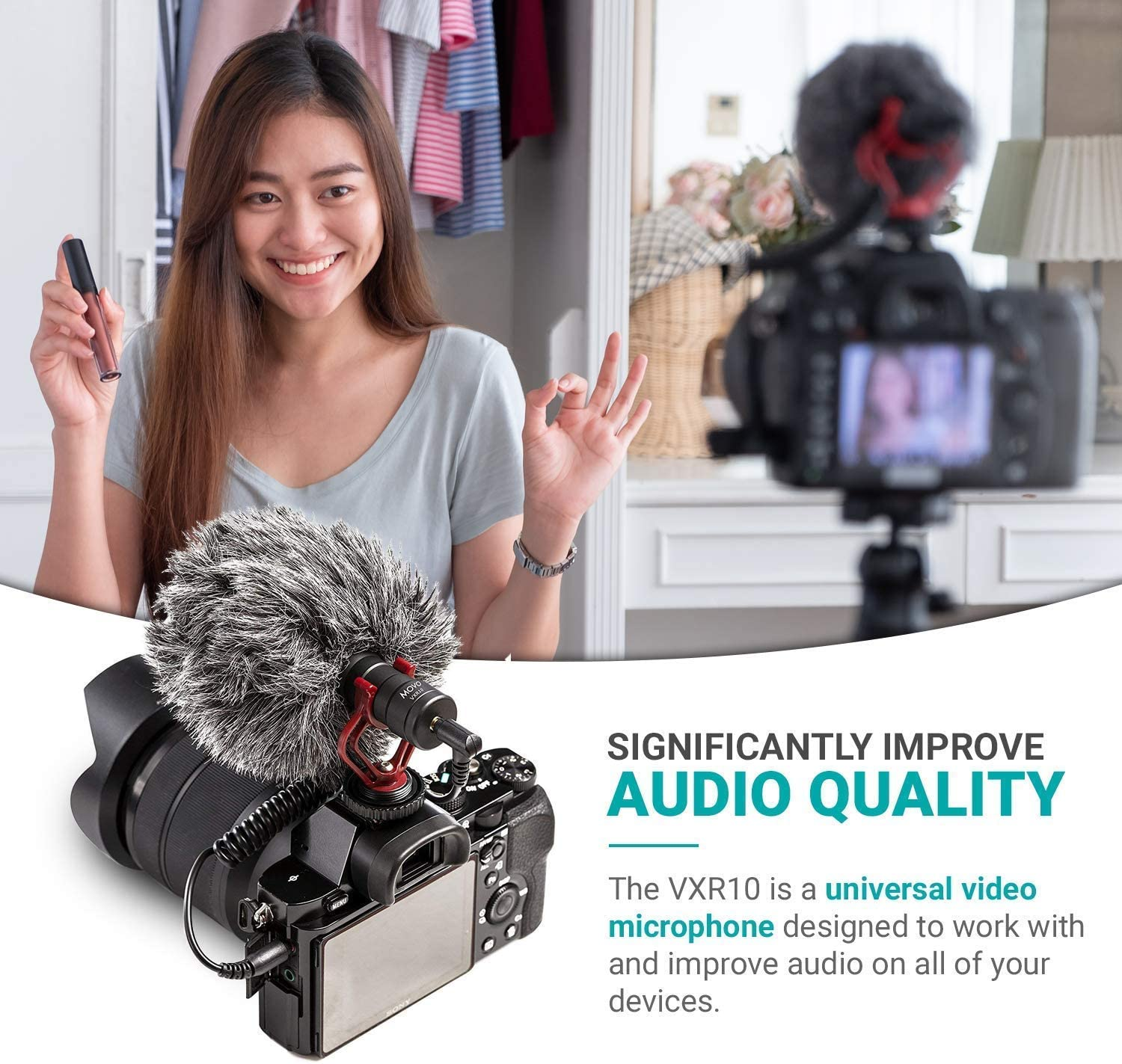 6S Compatible with iPhone 11 11 Pro Case Deadcat Windscreen Movo VXR10 Universal Video Microphone with Lightning Dongle Adapter Includes Shock Mount 7 XR iPad and More 5S X 5 XS 8 6