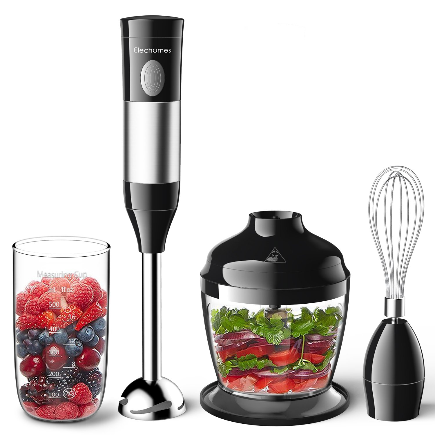 Elechomes 4-in-1 Immersion Hand Blender Set with 2 Speed Control,Includes Food Chopper, Egg Whisk, and BPA-Free Beaker for Smoothies Baby Food Soups