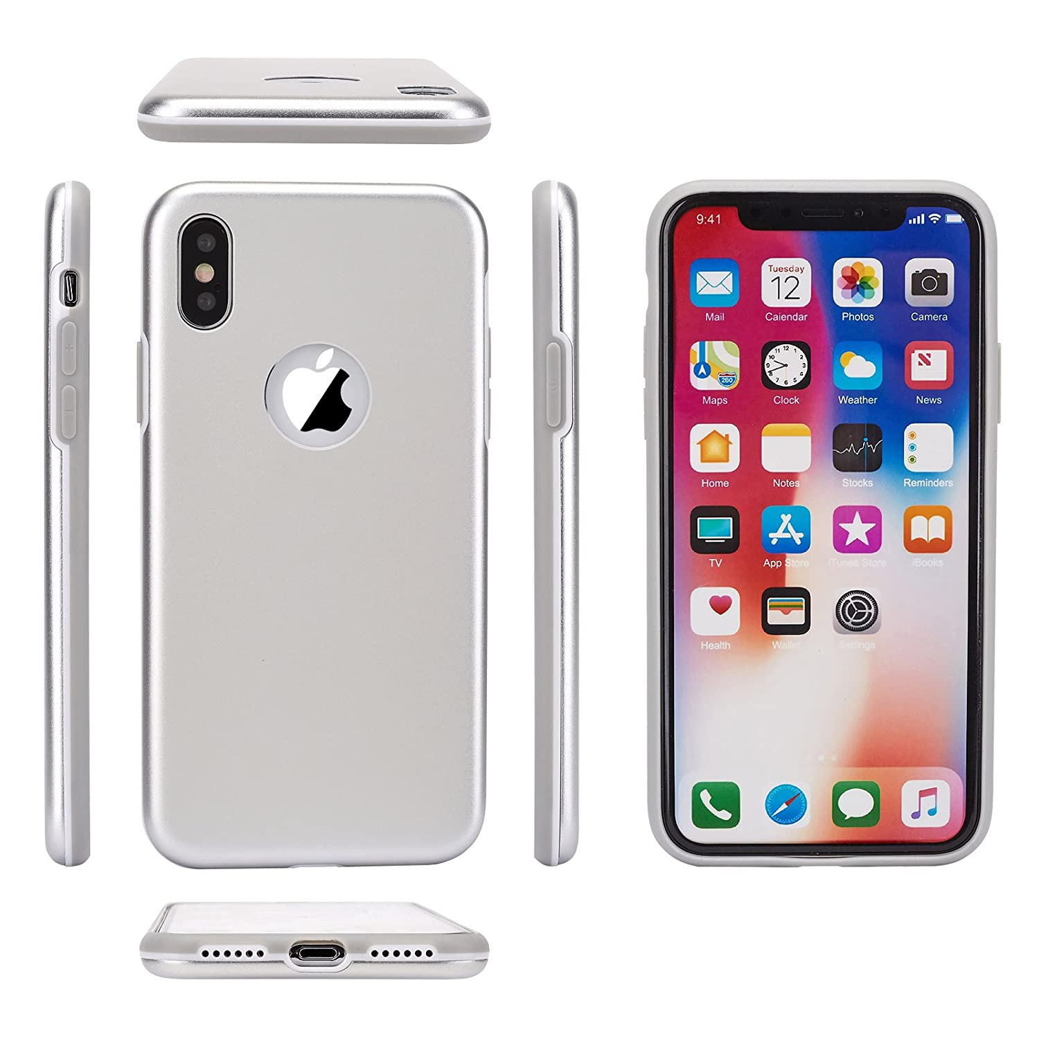 623d8e261b5cd Arbuda Metal Back Case for Apple iPhone X-Silver  Amazon.in  Electronics