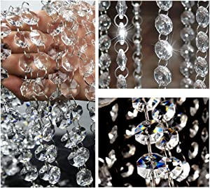 Crystal Bead Chain Garland Chandelier Hanging Crystal Garland for Centerpiece Crystal Beads Chandelier Chain Clear Crystals Garland Hanging Crystals Bead Glass Bead for Chandelier Decor Crystal