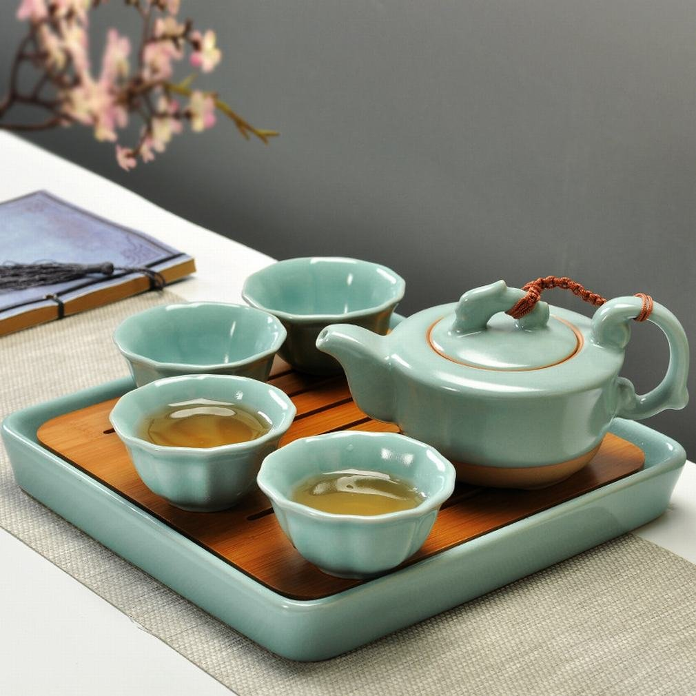 L Y Bambus Reise Tee-Set Origin Ofen Tasse Teekanne Teetablett DREI Sätze